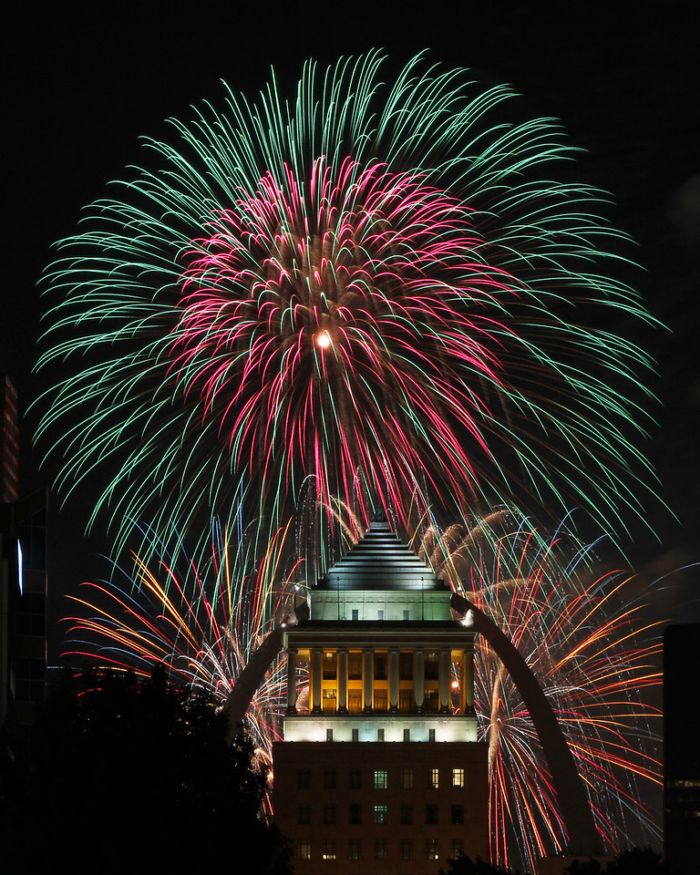 Fireworks with Arch and City Courts building