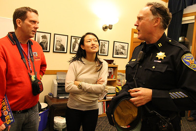 Jane Kim talking with Captain Joe Garrity.
