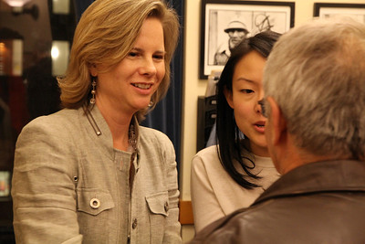 Kat Anderson and Jane Kim talk with Henry Karnilowicz, right.