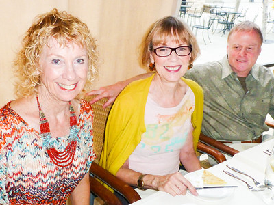 L to R: Linda Plonsky, Suzy Charles, Ray Plonsky at Petros Restaurant in Manhattan Beach Sept. 12