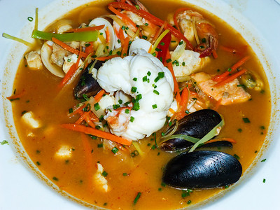 Seafood Bouillabaise with lobster, clams, shrimp and scallops at Hoppe's