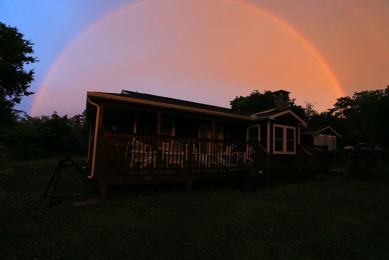 With the end of the Storms  Thursday night ,Came one of brightest Rainbows I've seen in while.