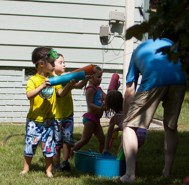 Scott had a big day with the water fights and the kids. The Battle goes on.