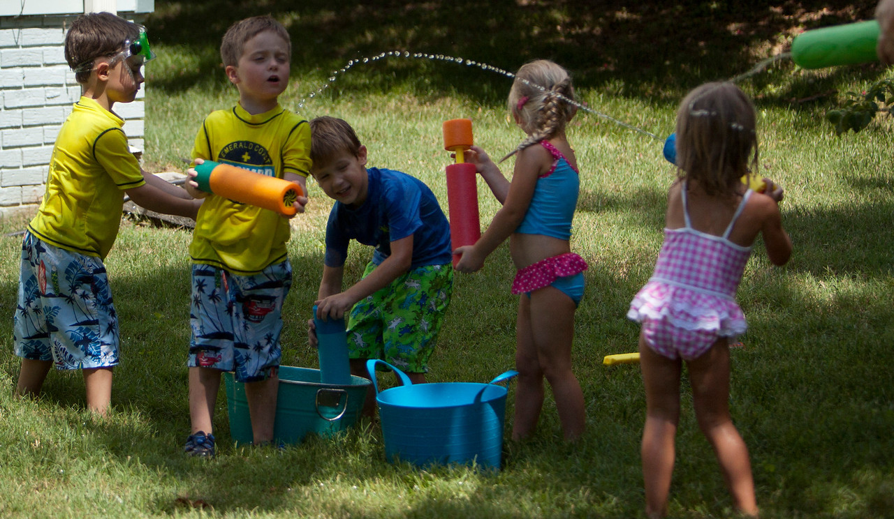The kids had a big day with water battles and some crying.