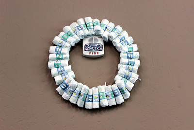 A Baby diaper wreath  was one of the decorations