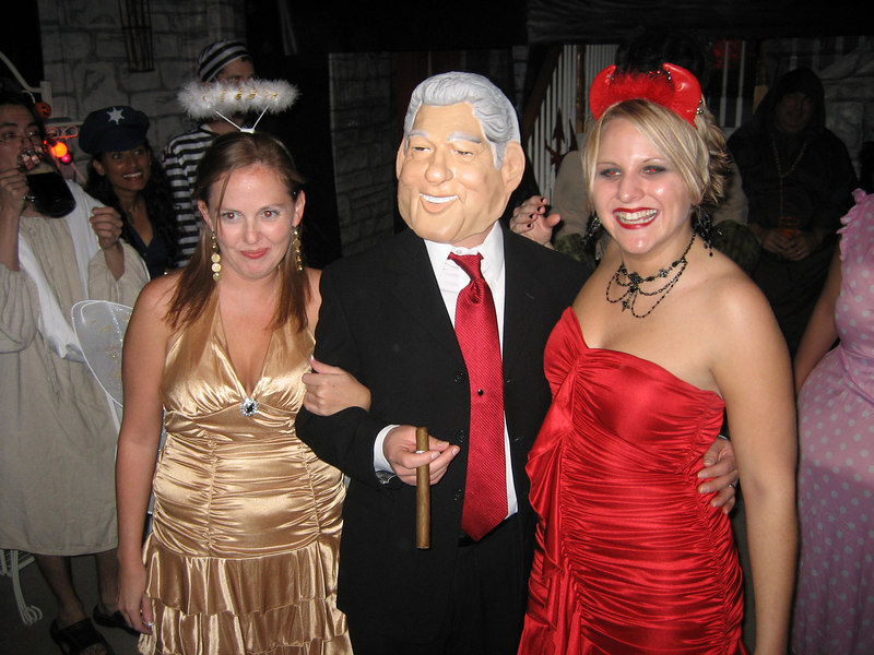 "Bill Clinton and the angel/devils on his shoulder. ""Ask him where the cigar has been.."" sayeth the angel."