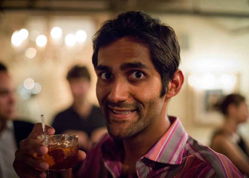 Kutta enjoying his party beverage creation.