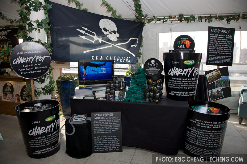 Sea Shepherd and Ecova Mali booth at LUSH press event