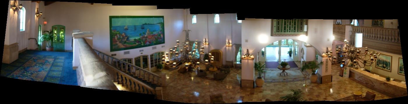 The absolute fun filled big Six Oh! birthday party for Larry Ryan was at the Mandaly Bay hotel in Oxnard.  Here's a picture* of the lobby from the balcony.<br /> <br /> <br /> *Panorama picture created by stitching (connecting) together overlapping parts of 8 separate snapshots.
