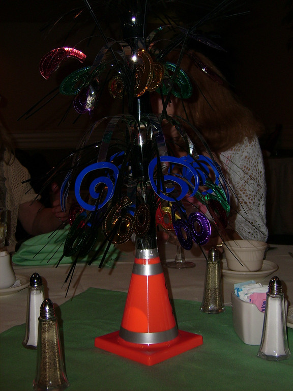 The 6 0  birthday centerpieces on each table were a perfect touch.