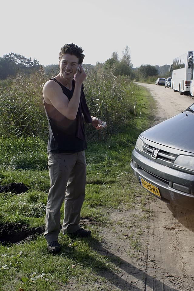 Daniel taking a mud bath for improving his skin LOL