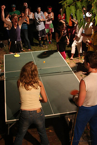 The big event for the night, ping pong! 20 teams, who will win? Luke was pretty happy to win his first round. Photo by Trent Williams