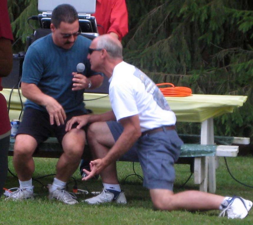 DENNIS WITH BOOGER DOING HIS BEST ELVIS