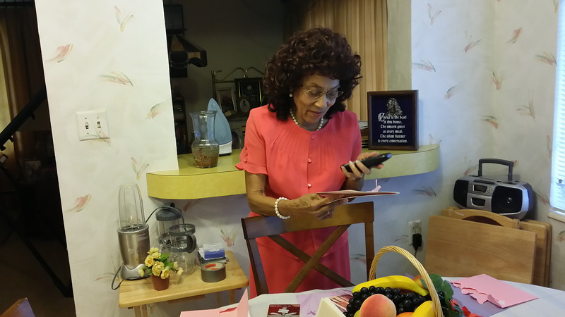 Mama viewing her birthday cards from Darryl & Bessie in Columbus, GA.  & from Cora and Sevell at dinning room table.   Walked into the house on Sunday, August 24, 2014 on her birthday to birthday cards sitting on the table.