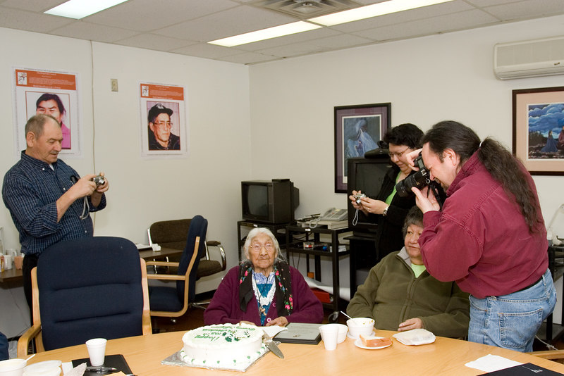 Some of the Chiefs of the Mushkegowuk First Nations taking pictures of Marguerite Wabano