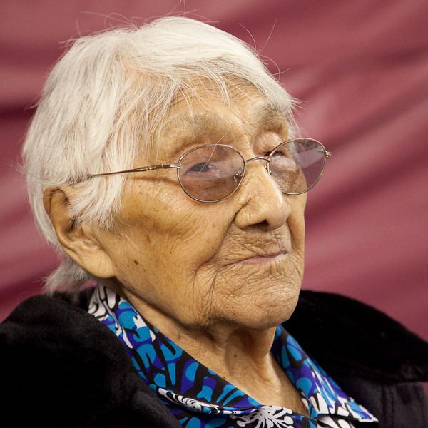 Portait (headshot) of Marguerite Wabano of Moosonee, Ontario at her 105th birthday party.