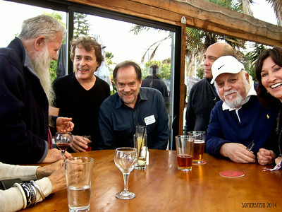 Ron Turner, (publisher), left; Mark Rennie (lawyer), 2nd on left; David Zeff (lawyer), 3rd on right; Robert Altman (photographer), 2nd on right - Mark Rennie and his friend Michelle's birthday party at Bayview Boat Club