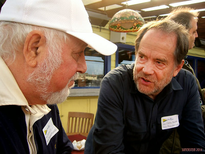 Robert Altman (photographer) on left speaking with Mark Rennie (lawyer) - Mark Rennie and his friend Michelle's birthday party at Bayview Boat Club
