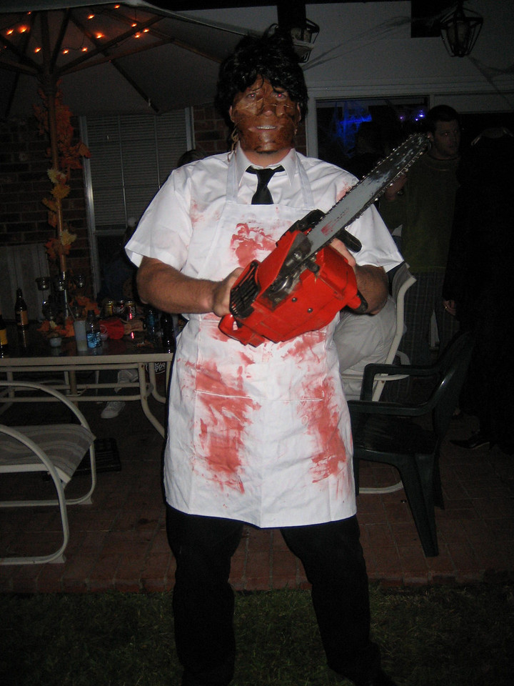 Leatherface gets ready for cutting duty
