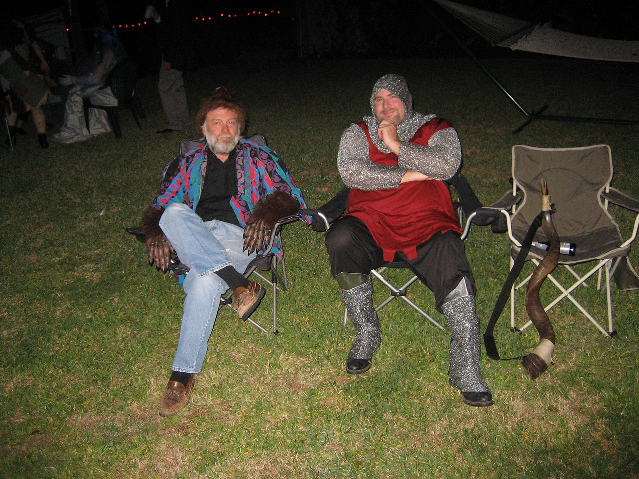 wolf man and knight takes a load off