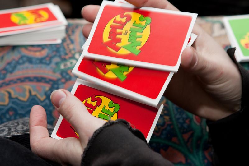 Tashari shuffling cards.