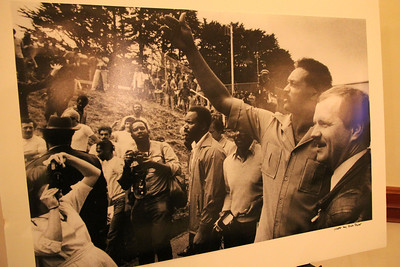 A poster sized photo displayed on an easel showing Sheriff Michael Hennessey in younger days meeting Jesse Jackson.  ________________________EVENT FACTS: Sheriff Hennessey Retirement Party, Irish Cultural Center, 2700 45th Ave. San Francisco on December 2nd, 2011, 6-10pm.