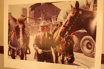 A poster sized photo displayed on an easel showing Sheriff Michael Hennessey in younger days.  ________________________EVENT FACTS: Sheriff Hennessey Retirement Party, Irish Cultural Center, 2700 45th Ave. San Francisco on December 2nd, 2011, 6-10pm.