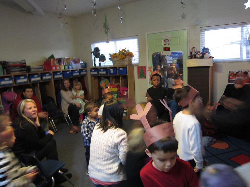 Harrison's first daycare party - it was CRAZY with kids, siblings, parents, teachers, their kids and siblings...all mingling and eating in the daycare center...