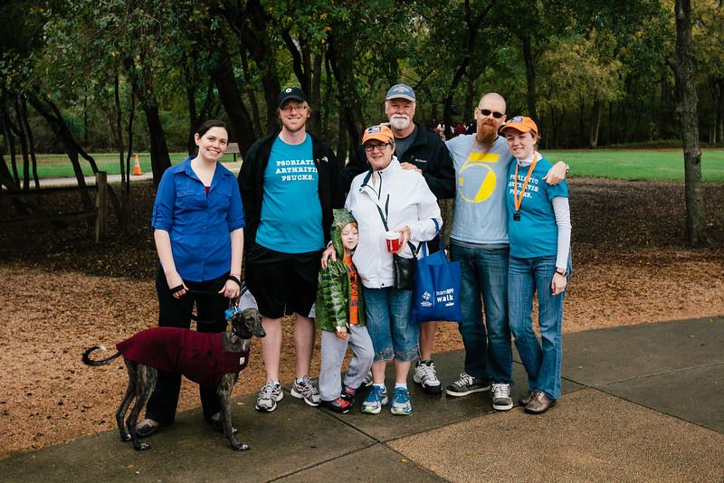 "Team ""Psoriatic Arthritis Psucks"" at the 2015 NPF Walk at River Legacy Park in Arlington, Texas."