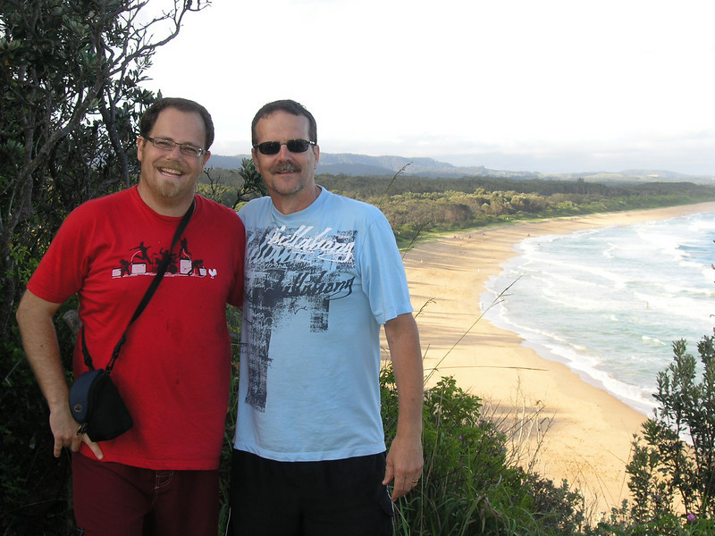 Uncle Pete and Simon, Sapphire Beach, Coffs Harbour