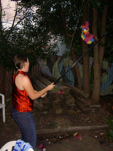 Holly goes for the pinata