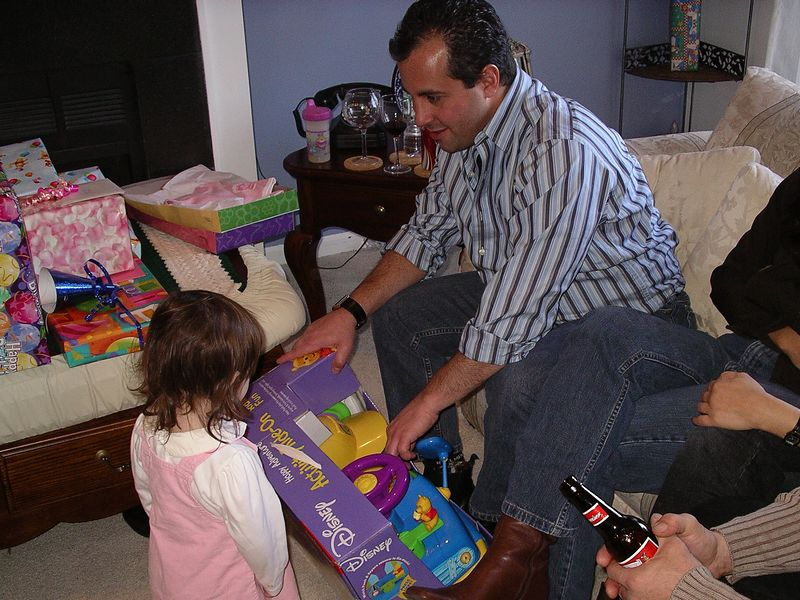Uncle Tom helping out, or is he playing with them?