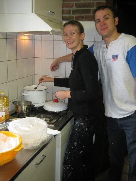 Making the oliebollen with Master Chef de patisserie Petra en Sjoerd