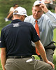 01 SEP 12  PGA Tour rules official Dillard Pruitt sorts out a ruling with Jim Furyk on 12 during Saturdays Second Round action at The Deutsche Bank Championship at The TPC of Boston in Norton, Massachusetts.