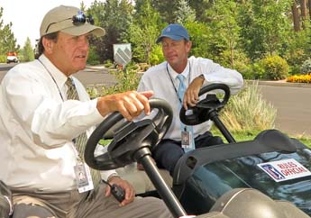 04 Aug 12  Rules officeals Brad Fabel and Robby Ware with a mini-conference during Saturdays Third Round action at The Reno Tahoe Open at Montreaux Country Club in Reno, Nevada.