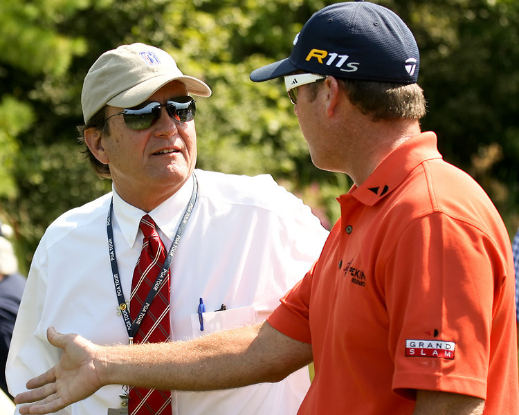 31 Aug 12  Brad Fabel and DA points chatting about the fine New England weather during Fridays First Round action at The Deutsche Bank Championship at The TPC of Boston in Norton, Massachusetts.