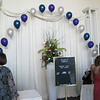 String of Pearls Balloon Arch- Purple, Navy Blue and Silver Balloons in the entrance foyer in back of the place card tables. <br /> Maneeley's in South Windsor
