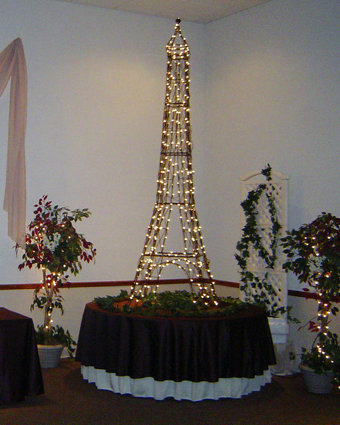 Parisien Party-Eiffel Tower Decoration. This is 10 feet high and we placed it on a table to get close to the 14 foot high ceiling. <br /> Maneeley's in South Windsor
