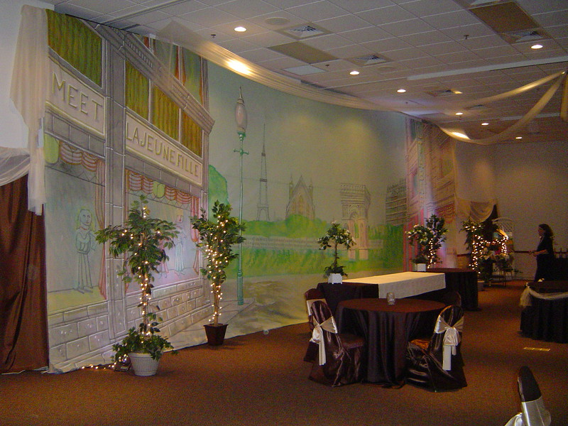 Parisien Party-Rented Backdrop with Ceiling Canopy and Lighted Trees.<br /> Maneeley's in South Windsor