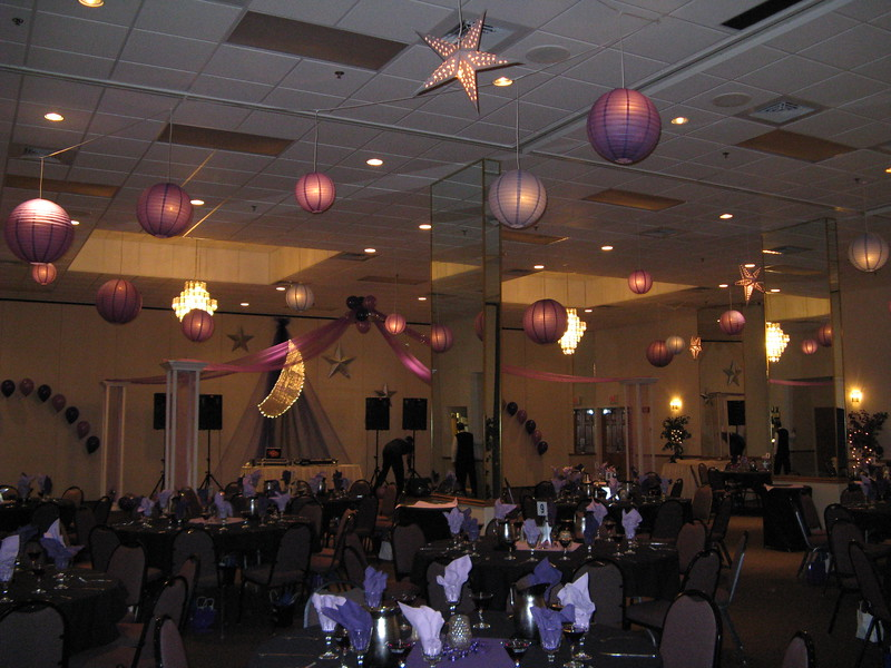 Purple Prom-  This was a smaller prom with only about 15 tables, so we needed to fill space to make the room look full and colorful.  The hanging lanterns and dance canopy really accomplished this. <br /> Maneeley's in South Windsor