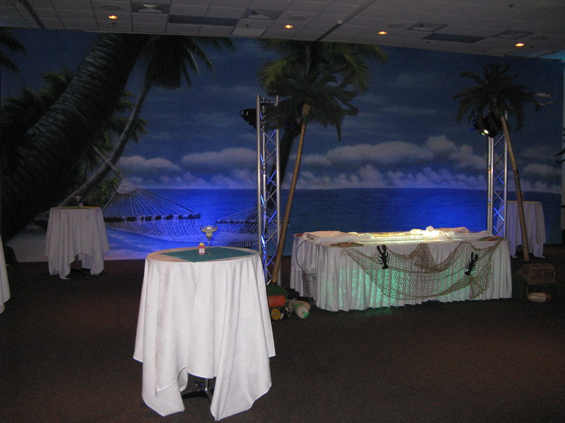 Beach Birthday Party- Here's the backdrop with tables and lighting.  It was very effective and really made you feel you were at the Beach!<br /> Maneeley's in South Windsor