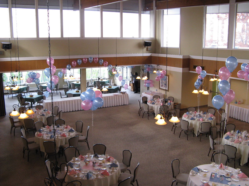 Pink and Blue Baby Shower-  This venue is wide open with very high ceilings.  The Balloons helped to fill the space and carry the color scheme. This picture was taken from the balcony as you walk into the room and gave the party the Wow factor. <br /> Ellington Ridge Country Club- Ellington, CT