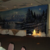 Winter Wonderland-Snow Backdrop with Hanging Snowflakes and Lighted Trees and Snow Decor.<br /> Maneeley's in South Windsor