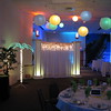 Beach Birthday Party- The guest of honor loves Polka music, but didn't want to dance, so we created this area for the band without a dance floor.  The paper lanterns have green, yellow and blue bulbs to carry the theme.  Notice the lighted torches on top of the backdrop and the lighted palm tree. <br /> Maneeley's in South Windsor