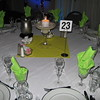 Beach Birthday Party- The tables were set with white or blue table covers and yellow, green and blue napkins were used to carry the color theme.  The centerpieces were giant Margarita glasses with sand and shells and a lighted pillar candle. <br /> Maneeley's in South Windsor