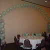 Quinceanera-Balloon Columns with a Balloon Arch to brighten a Plain Divider Wall.<br /> Maneeley's in South Windsor