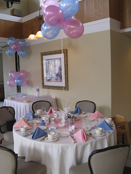 Pink and Blue Baby Shower- Balloon Decor to match the napkins.  Notice the cute Boo-Boo Bunny favors.<br /> Ellington Ridge Country Club in Ellington, CT