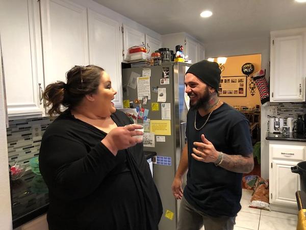 Missy and Daniel taking a break in the kitchen.