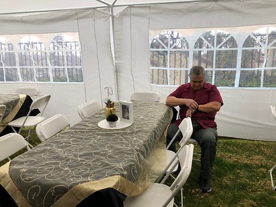 Sam in the tent wodering where the invitees were.