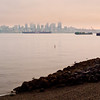 The view of Downtonw from West Seattle on the way to the Water Taxi.